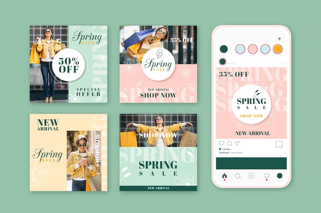Collection of lovely spring sale instagram posts