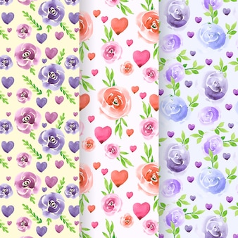 Collection of lovely watercolor valentine's day pattern