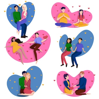 Collection of loving couples for valentine's day