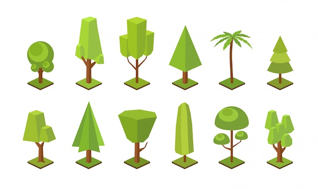 Collection of low poly trees of various types isolated