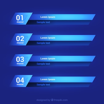 Collection of lower thirds in blue tones