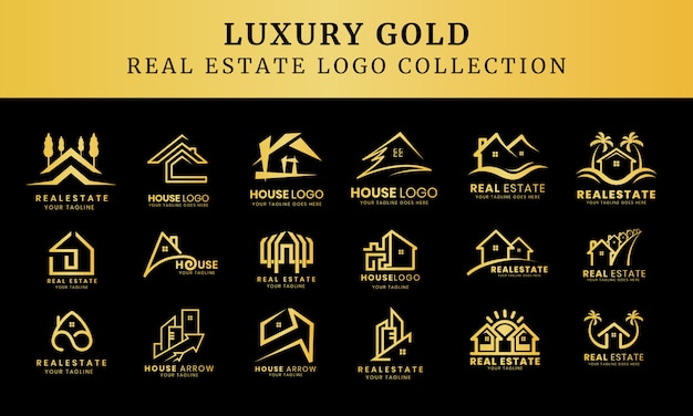 Collection of luxury building architecture sets, real estate logo design symbols