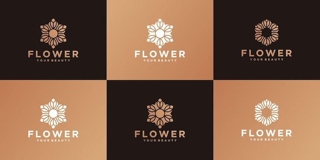 컬렉션 럭셔리 꽃 로고 골드 컬러 디자인 서식 파일