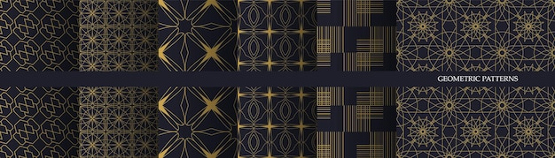 Collection of luxury geometric seamless pattern.