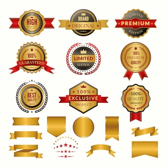 Collection of luxury gold badges and logos.