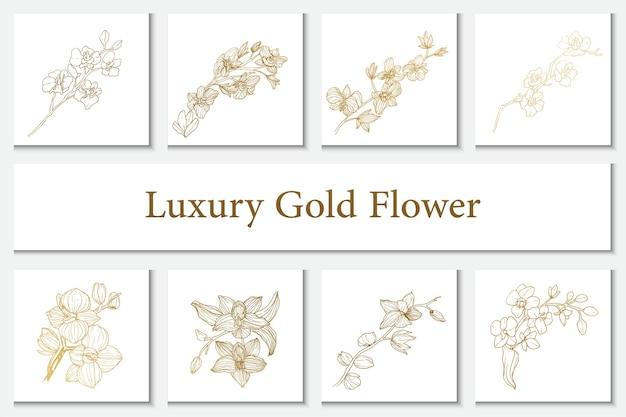 Collection luxury gold flower element line art illustration