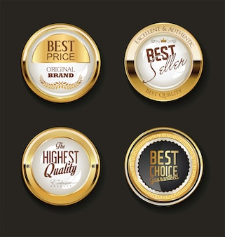 Collection of luxury golden design elements labels