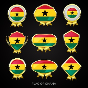 Collection of luxury golden flag badges of ghana