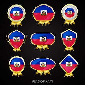 Collection of luxury golden flag badges of haiti