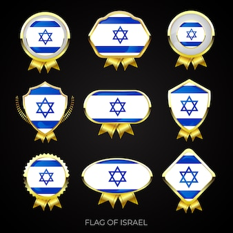 Collection of luxury golden flag badges of israel