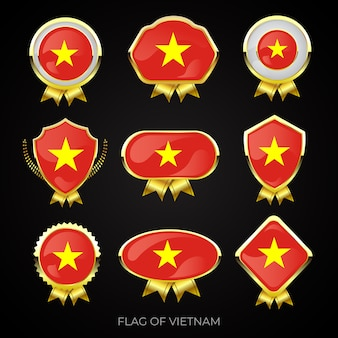 Collection of luxury golden flag badges of vietnam