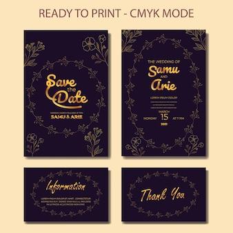 Collection of luxury wedding invitation flower line art gold