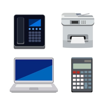 Collection of machines used in offices isolated