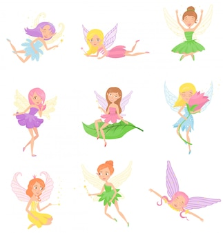 Collection of magic fairies in different dresses. cute girls with elf ears, colorful hair and little wings.