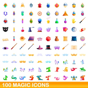 Collection of magic icons isolated on white