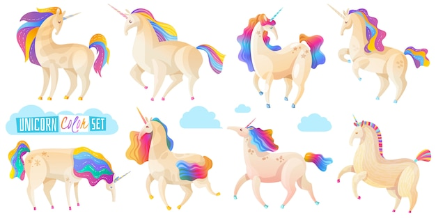 Collection of magic unicorns
