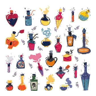 Collection of magical bottles with potions perfume and aroma oils