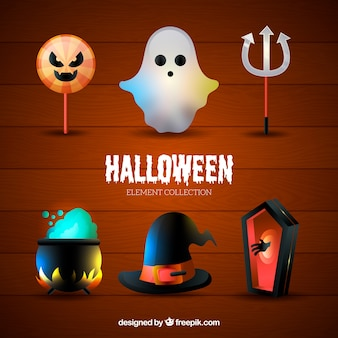 Collection of main decorative attributes of halloween