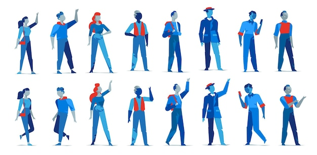 Collection of male and female characters in different poses isolated