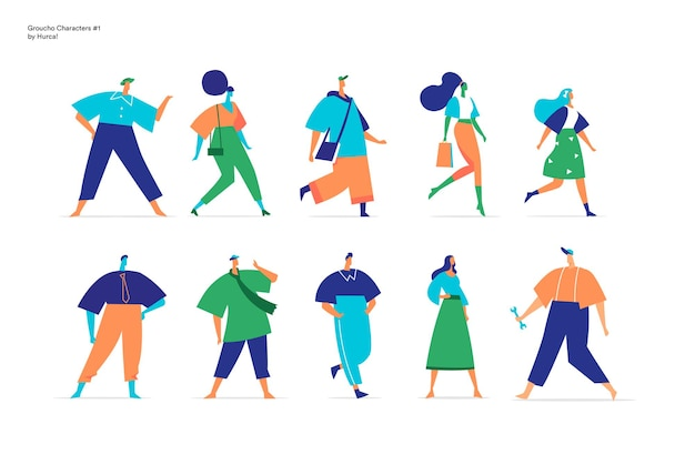 Collection of male and female characters walking in different positions Premium Vector