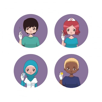 Collection of male and female nurse avatars