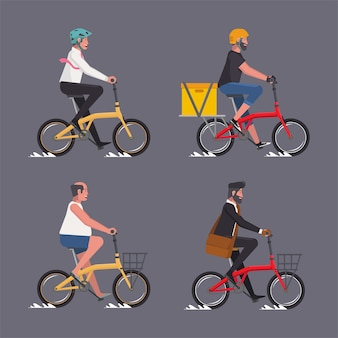 Collection of male riding folding bicycles businessman courier hipster oldman