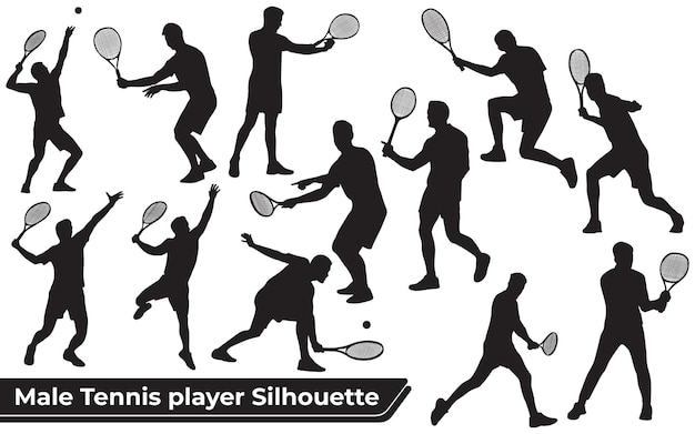 Collection of male tennis player silhouettes in different poses