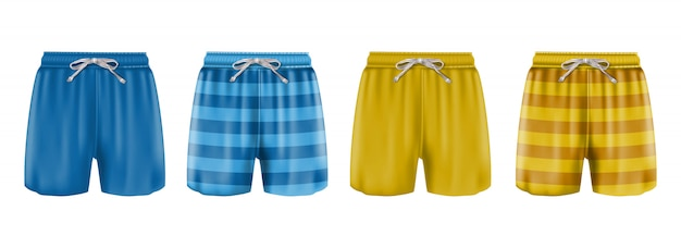 Collection of man boxers swimsuit in stripes or blue and orange. isolated on white background.