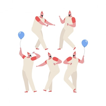 Collection of  man dancing and having fun at a birthday party