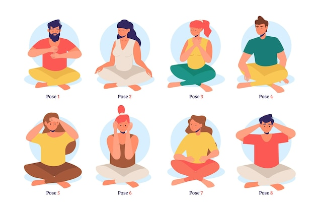 Collection of man and women in reiki poses
