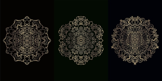 Collection of mandala ornament or flower