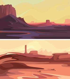 Collection of martian landscapes. beautiful space sceneries.