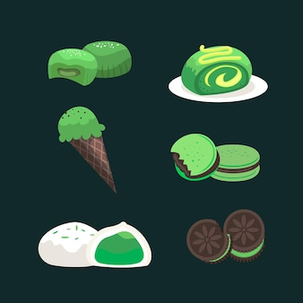 Collection of matcha dessert isolated on dark background