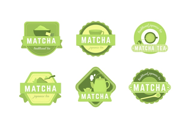 Collection of matcha tea badges