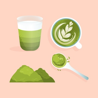 Collection of matcha tea isolated on pink background