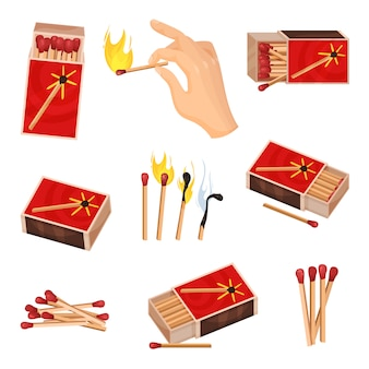Collection of matches.  illustration  on white background.