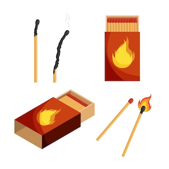 Collection of matches with fire and matchbox. whole and burnt matchstick. stages of burning the match