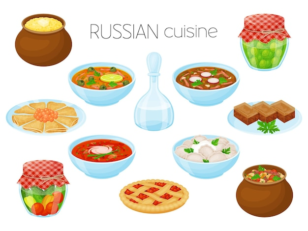 Collection of meals. russian cuisine. cartoon style, vector illustration. isolated on white.