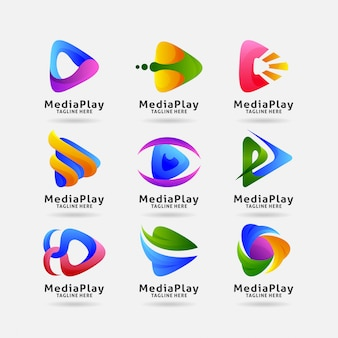 Collection of media play logo