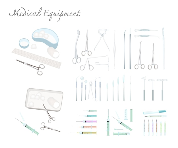 Collection of medical equipments on white background