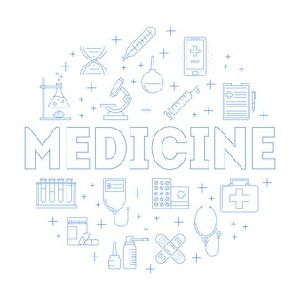 Collection of medicine line icons in circle frame
