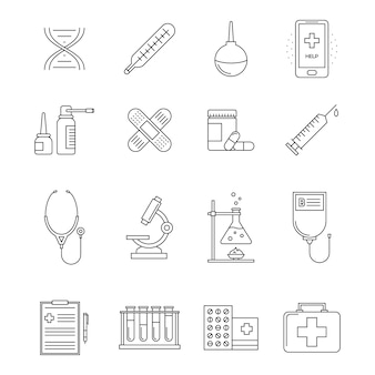 Collection of medicine line icons