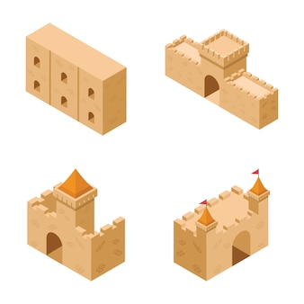 Collection of medieval castle elements icons