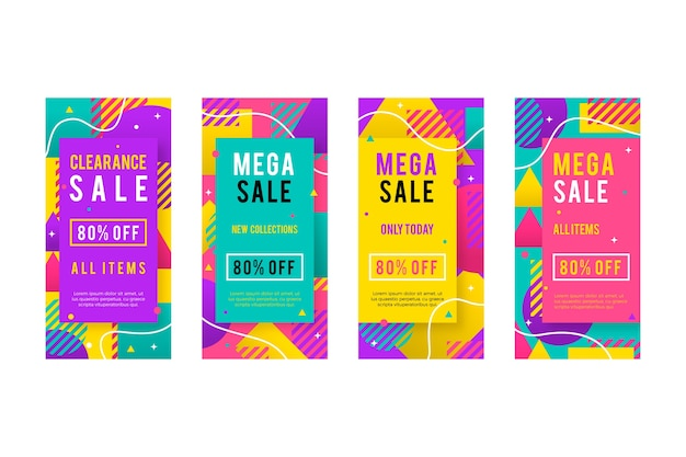 Collection of memphis colorful instagram sale stories
