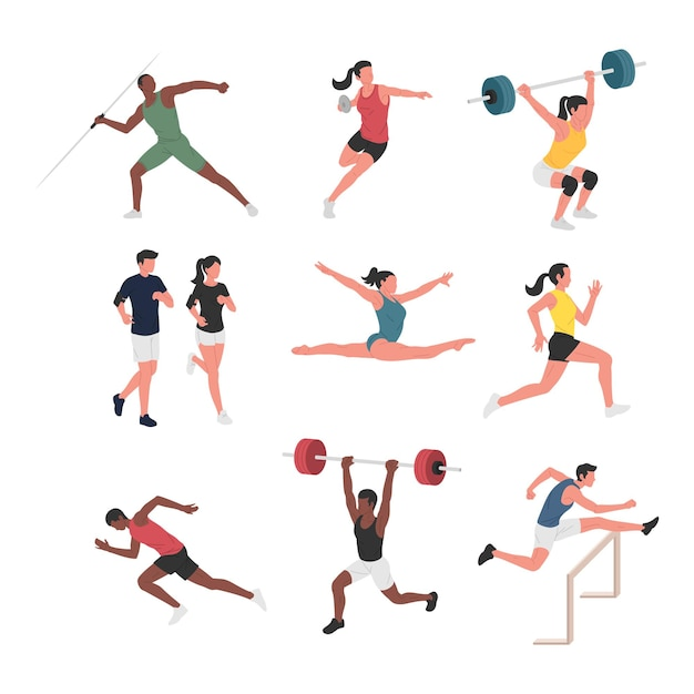 Collection of men and women doing various athletic sports activities.