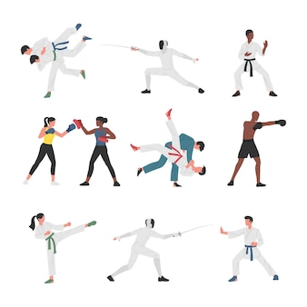 Collection of men and women doing various martial arts sports activities.