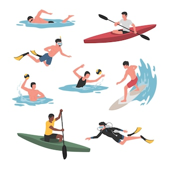 Collection of men and women doing various water sports activities.