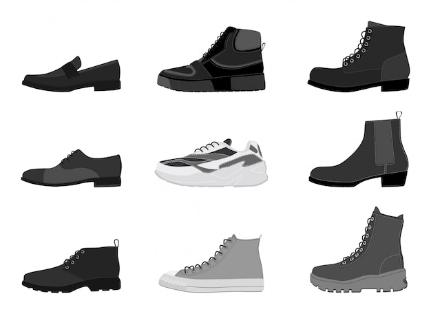 Collection mens footwear isolated on white background. set of men boots
