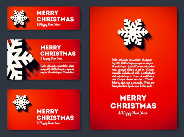 Collection of merry christmas banners and greeting cards with snowflake