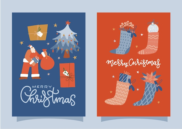 Collection of merry christmas congratulation cards with santa claus character xmas stocking full of ...
